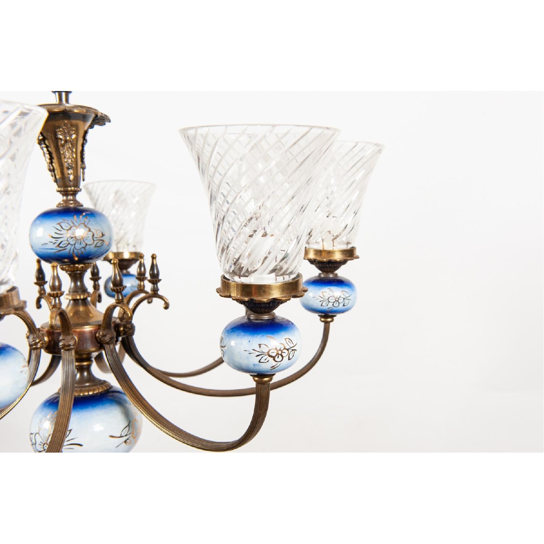 Vintage 8-Light Blue Porcelain Chandelier w/ Cut Glass Shade - image-4