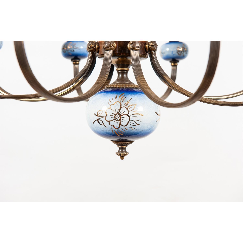 Vintage 8-Light Blue Porcelain Chandelier w/ Cut Glass Shade - image-2
