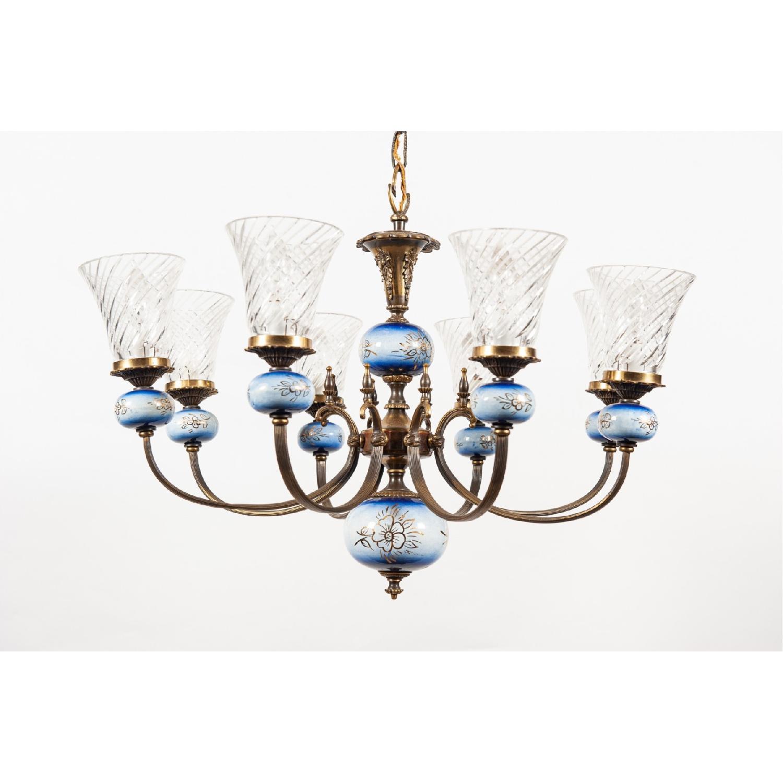 Vintage 8-Light Blue Porcelain Chandelier w/ Cut Glass Shade - image-3