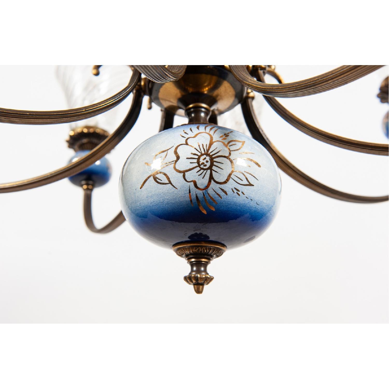 Vintage 8-Light Blue Porcelain Chandelier w/ Cut Glass Shade - image-6