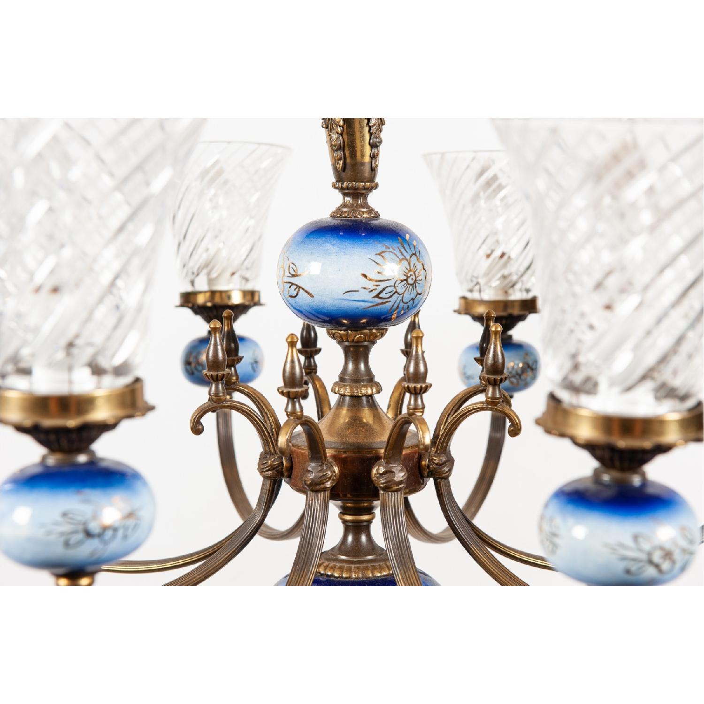 Vintage 8-Light Blue Porcelain Chandelier w/ Cut Glass Shade - image-5