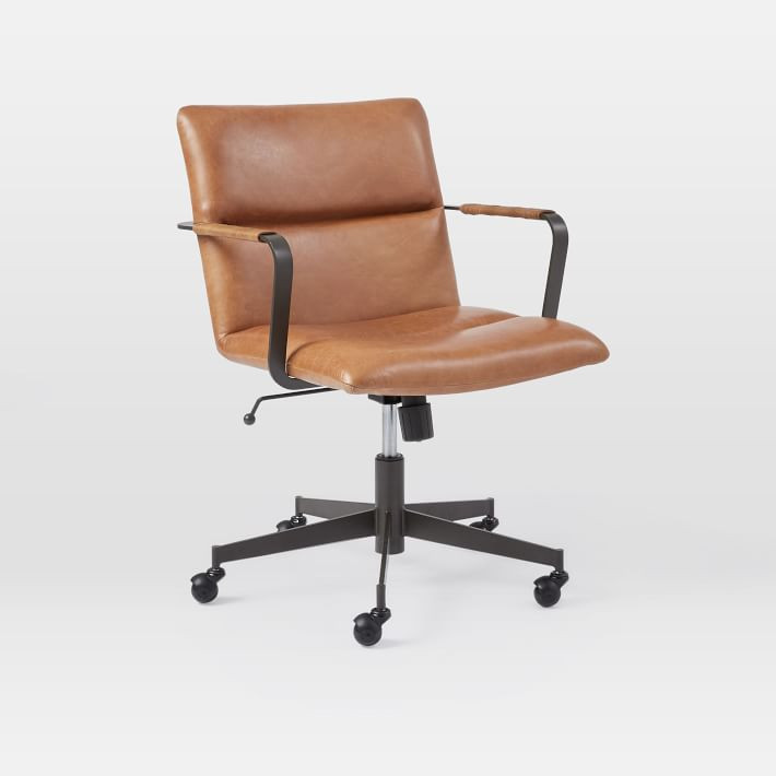 West Elm Cooper Mid Century Leather Swivel Office Chair