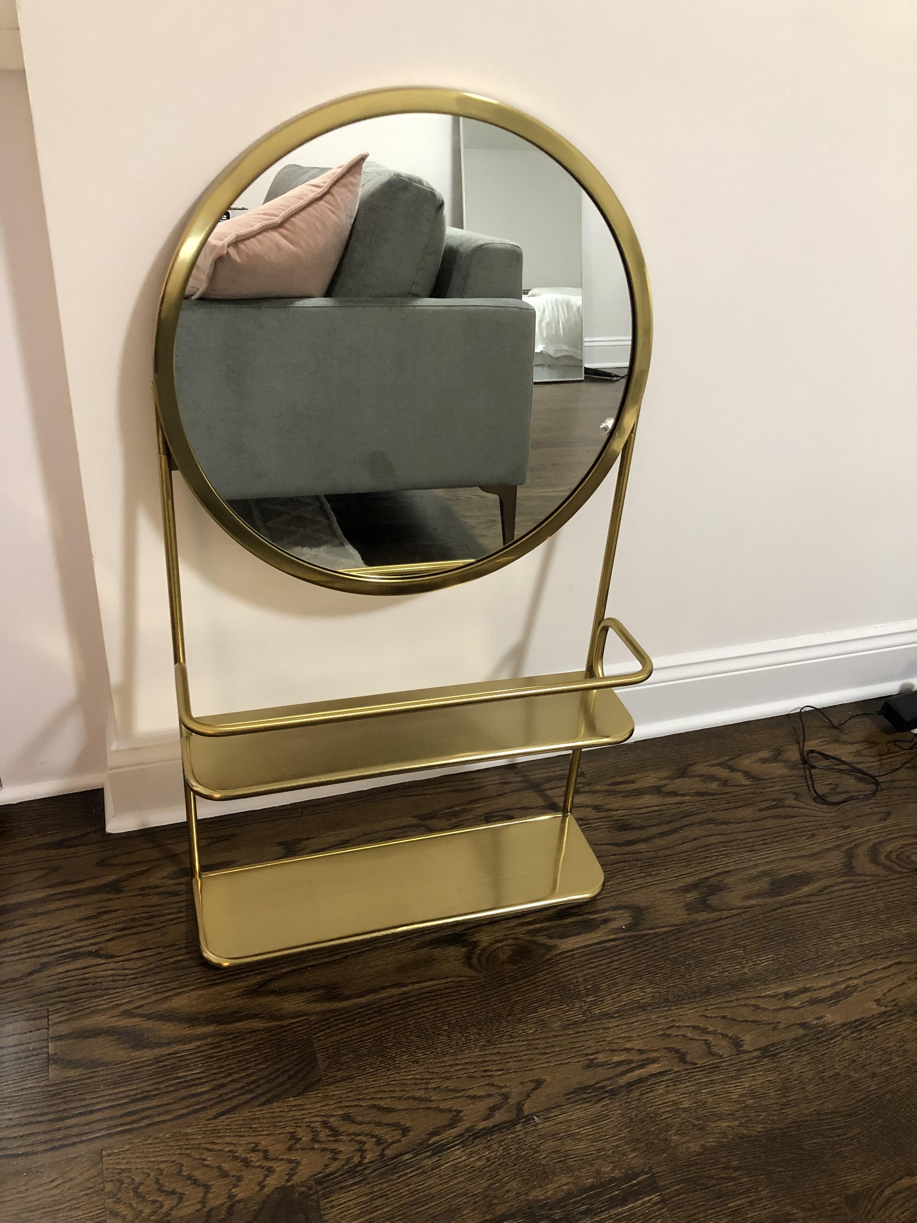 CB2 Gold Vanity Mirror w/ Open Shelves