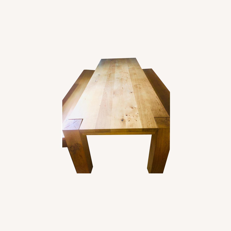 E15 Bigfoot Oak Table w/ 2 Taro Benches