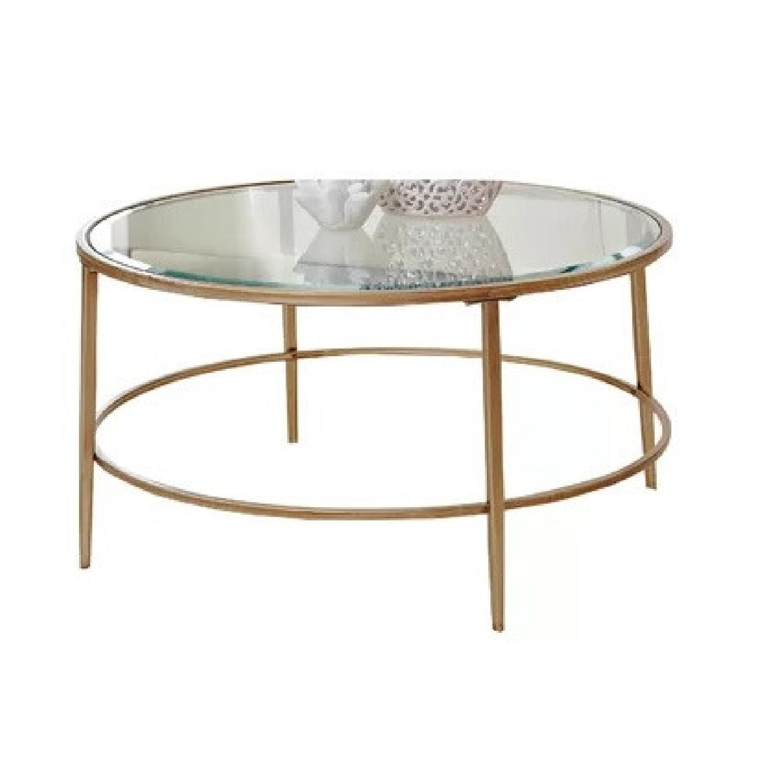 Birch Lane Heritage Round Glass & Gold Coffee Table - image-1