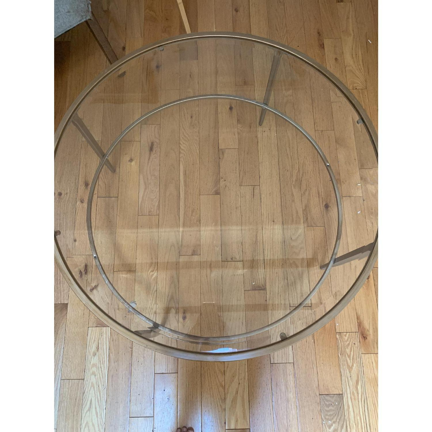 Birch Lane Heritage Round Glass & Gold Coffee Table - image-2