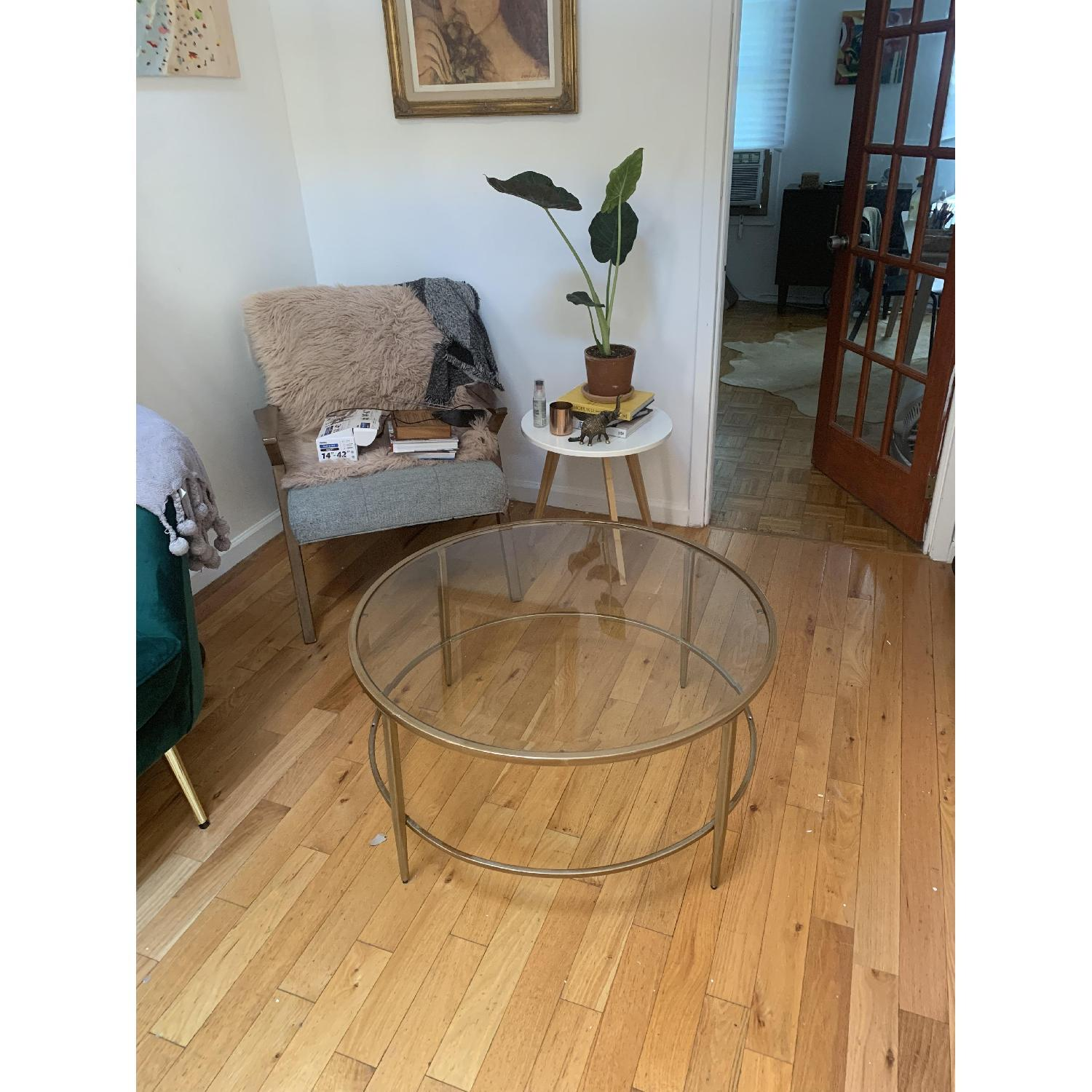 Birch Lane Heritage Round Glass & Gold Coffee Table - image-3