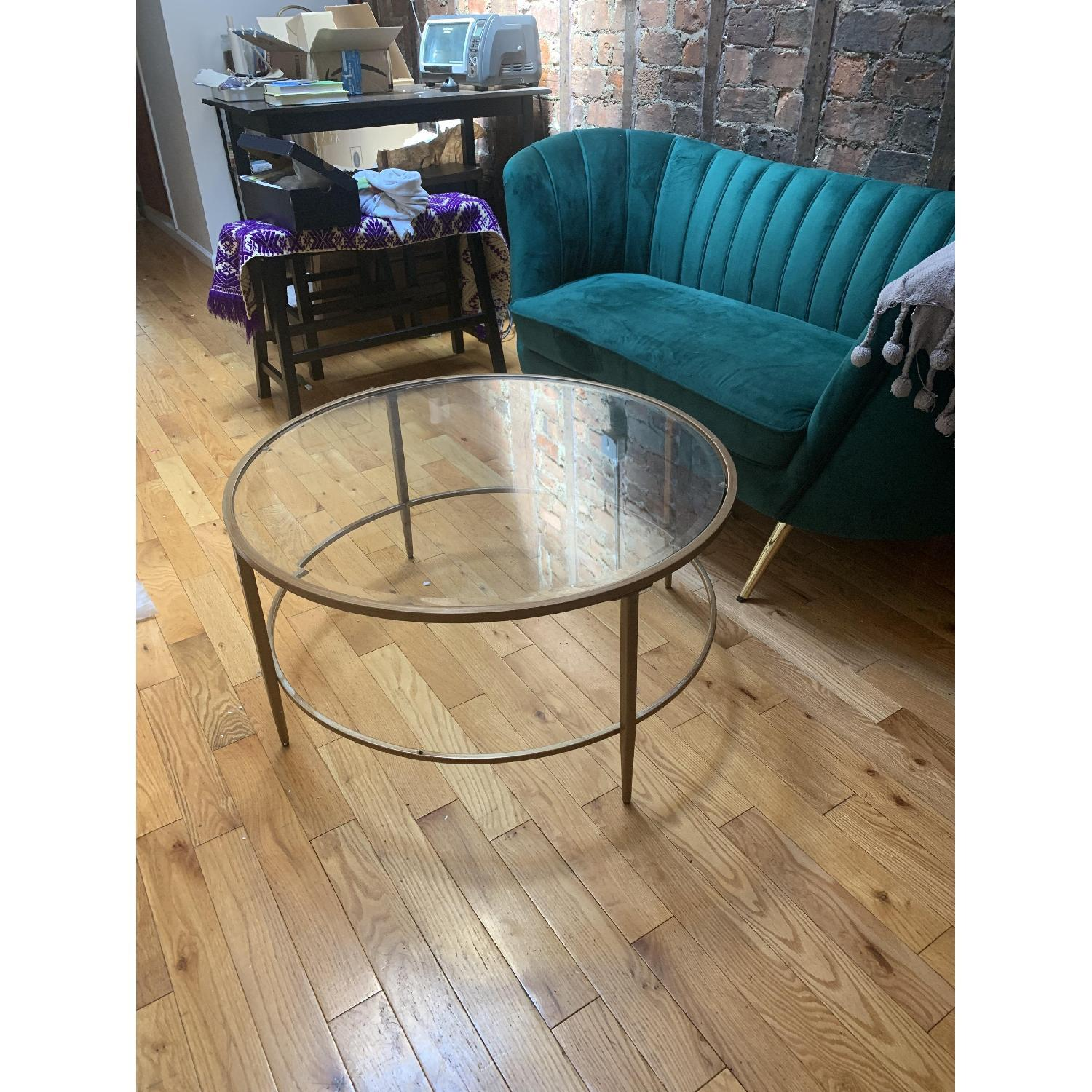 Birch Lane Heritage Round Glass & Gold Coffee Table - image-4