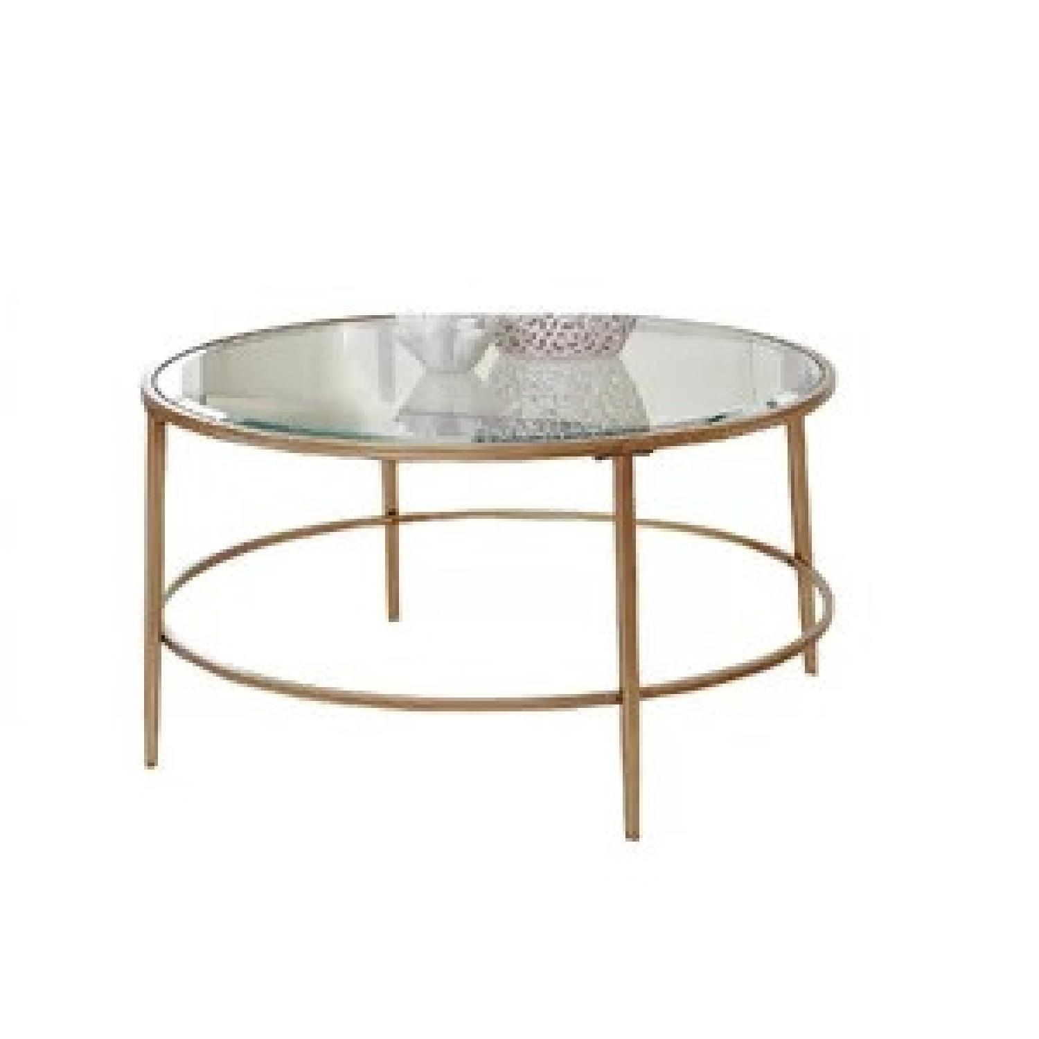 Birch Lane Heritage Round Glass & Gold Coffee Table - image-0