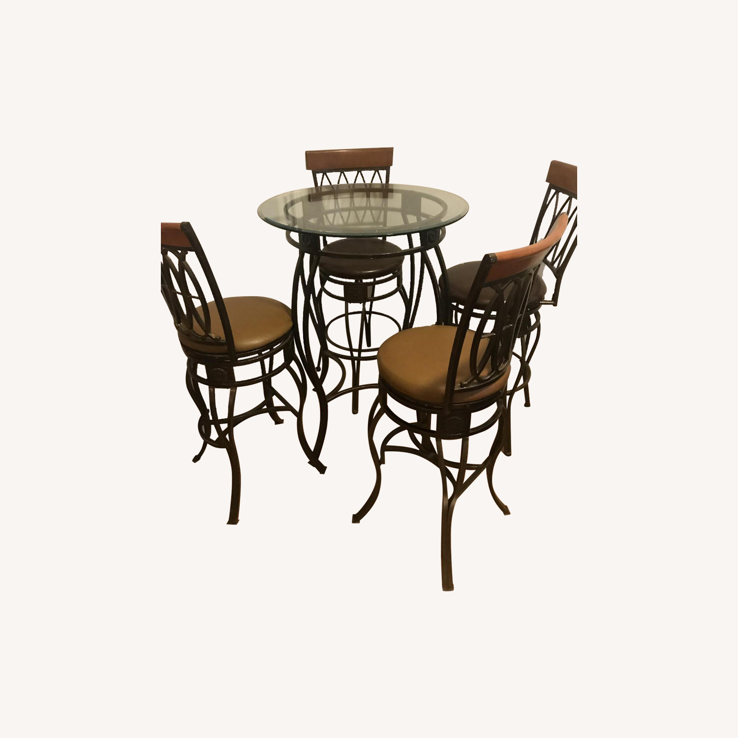 Glass Dining Table w/ 4 Swivel Chairs
