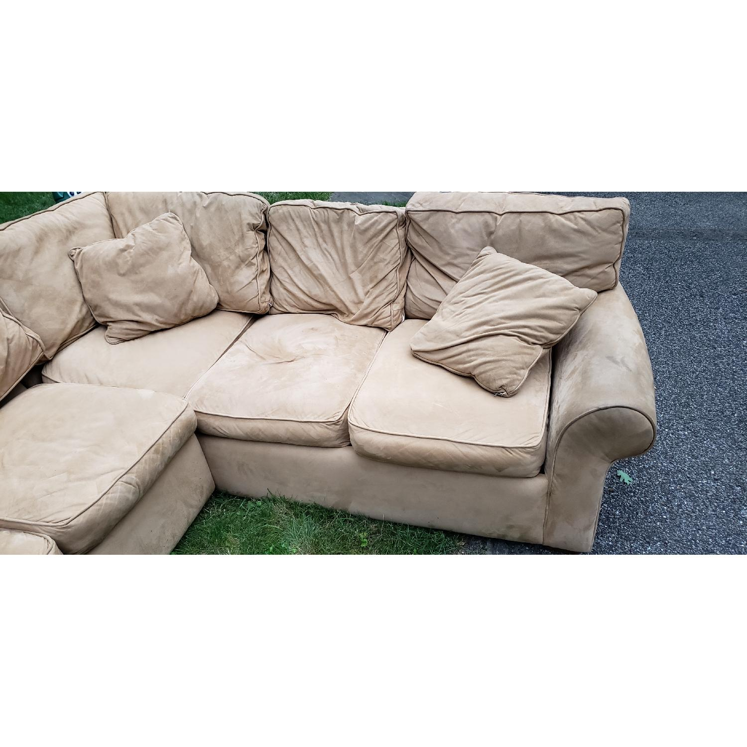 Beige Suede 2-Piece Sectional Sofa - image-2