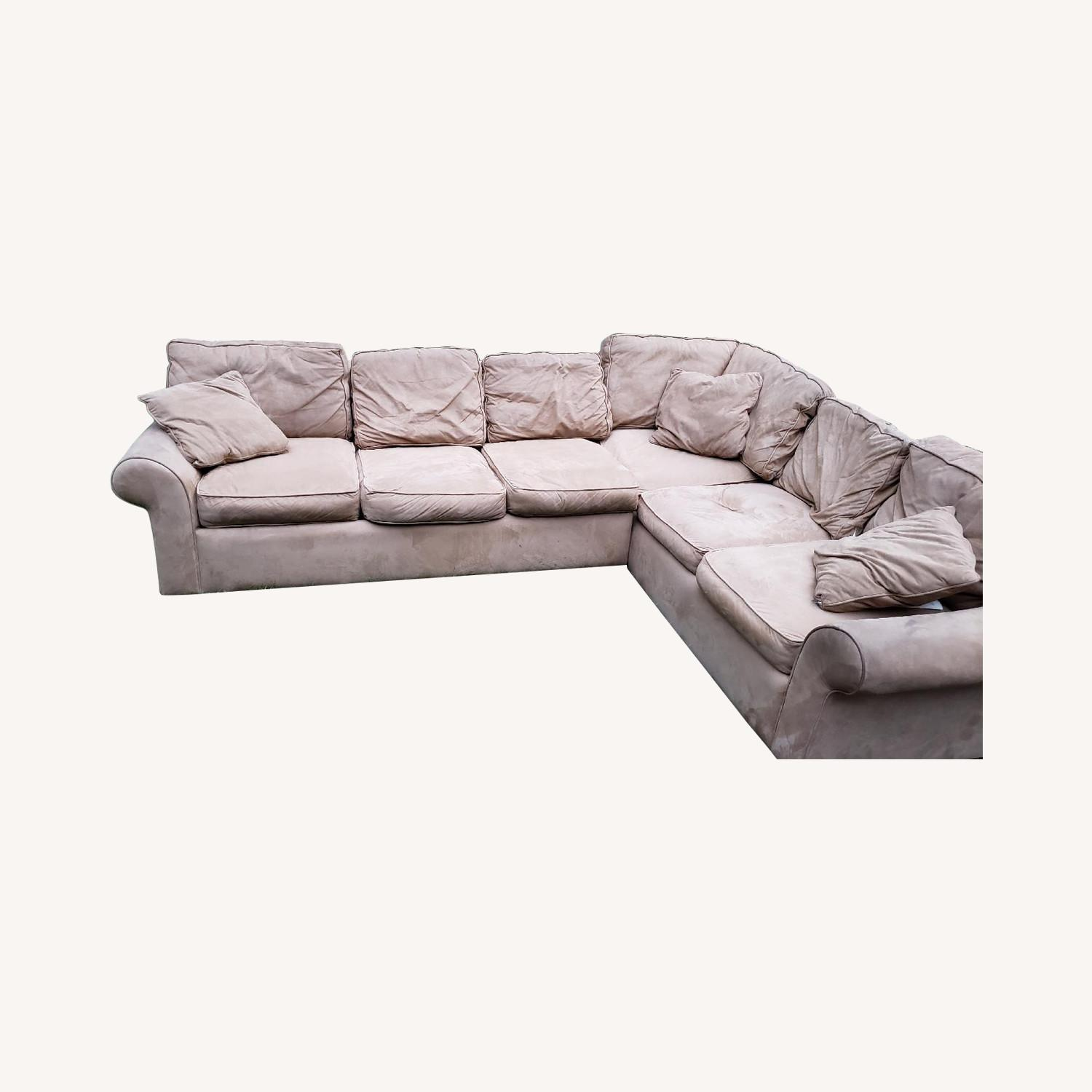 Beige Suede 2-Piece Sectional Sofa - image-0