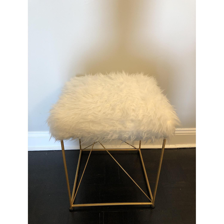 White Faux Fur Ottoman Stool w/ Gold Metal Base - image-1