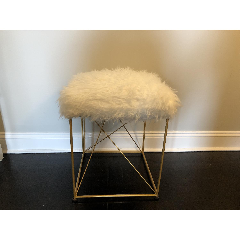White Faux Fur Ottoman Stool w/ Gold Metal Base - image-2