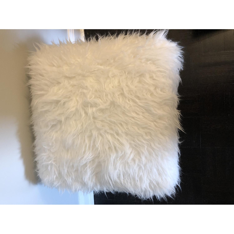 White Faux Fur Ottoman Stool w/ Gold Metal Base - image-3