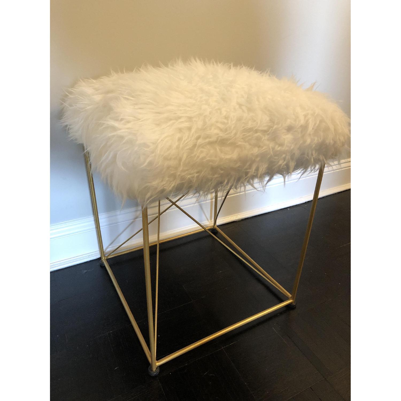 White Faux Fur Ottoman Stool w/ Gold Metal Base - image-4