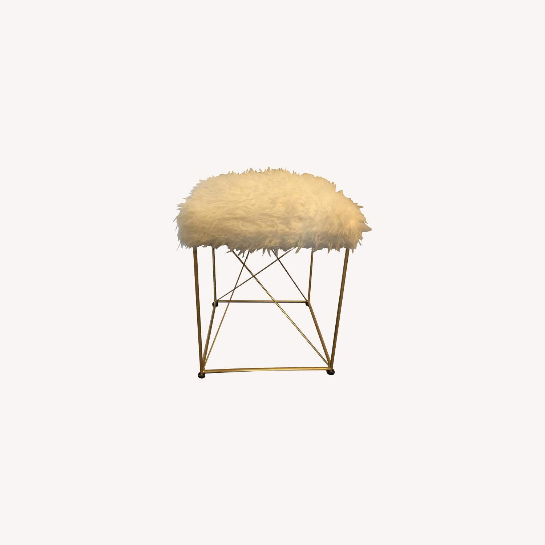 White Faux Fur Ottoman Stool w/ Gold Metal Base - image-0