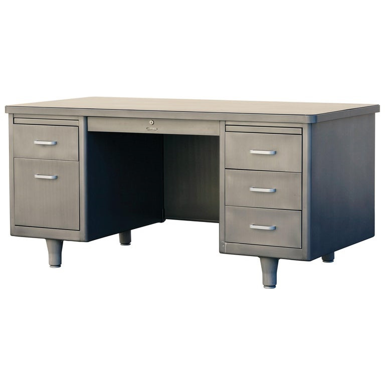 McDowell Craig Tanker Desk in Refinished Natural Steel