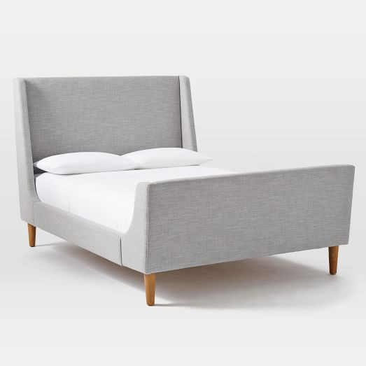West Elm Linen Weave Platinum Upholstered Queen Sleigh Bed