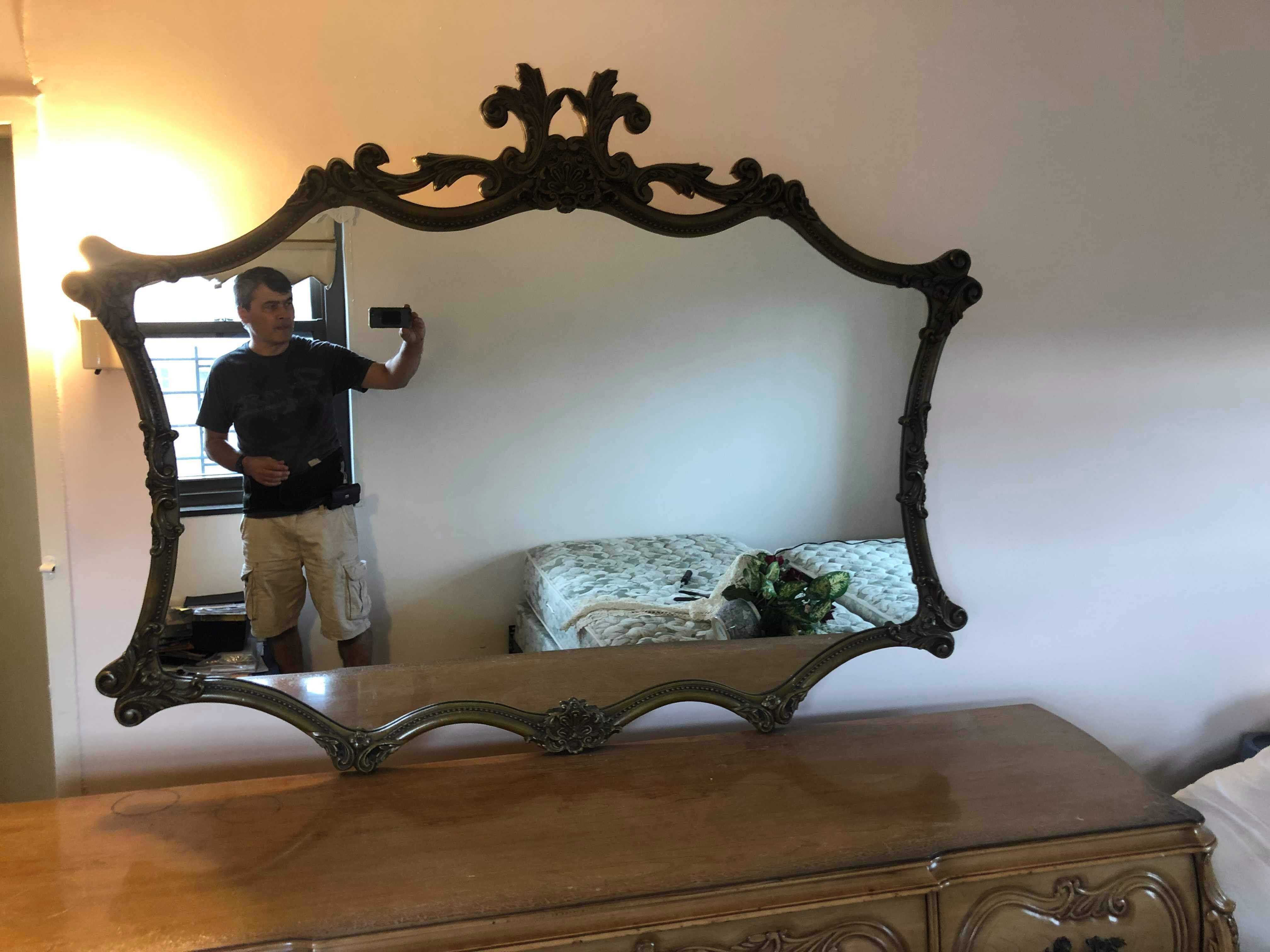 Vintage Wooden Framed French Style Wall Mirror