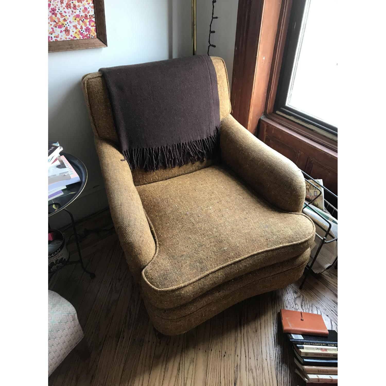 Vintage Rust/Brown/Gold Armchair - image-1