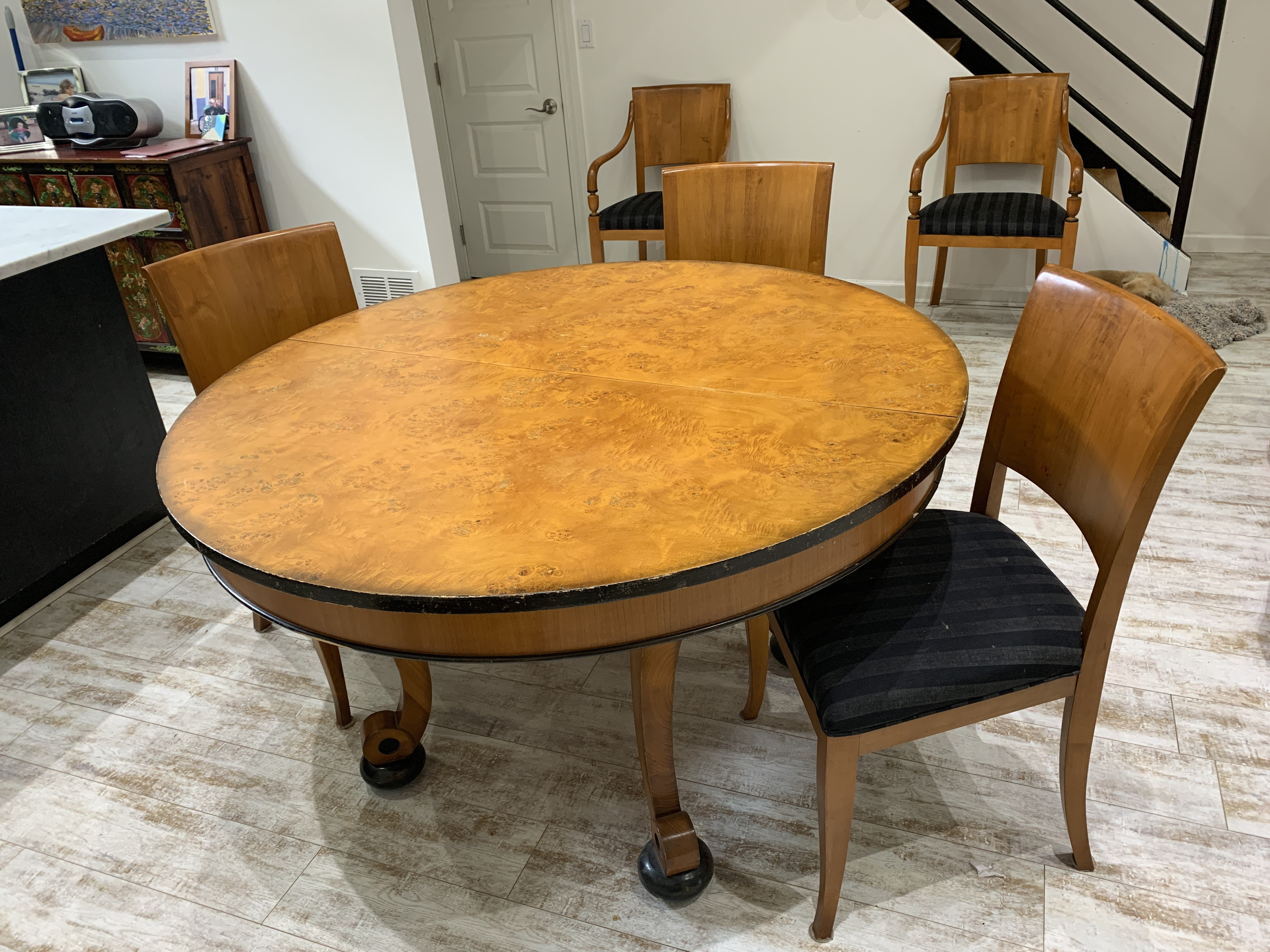 Birds Eye Maple 1969s Expandable Dining Table