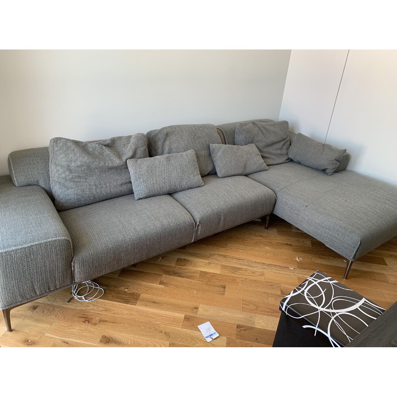 J&M Christian Grey Fabric Sectional Sofa - image-1