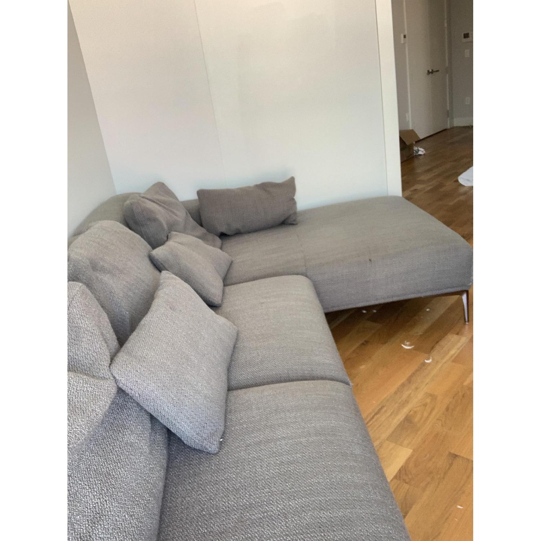 J&M Christian Grey Fabric Sectional Sofa - image-2