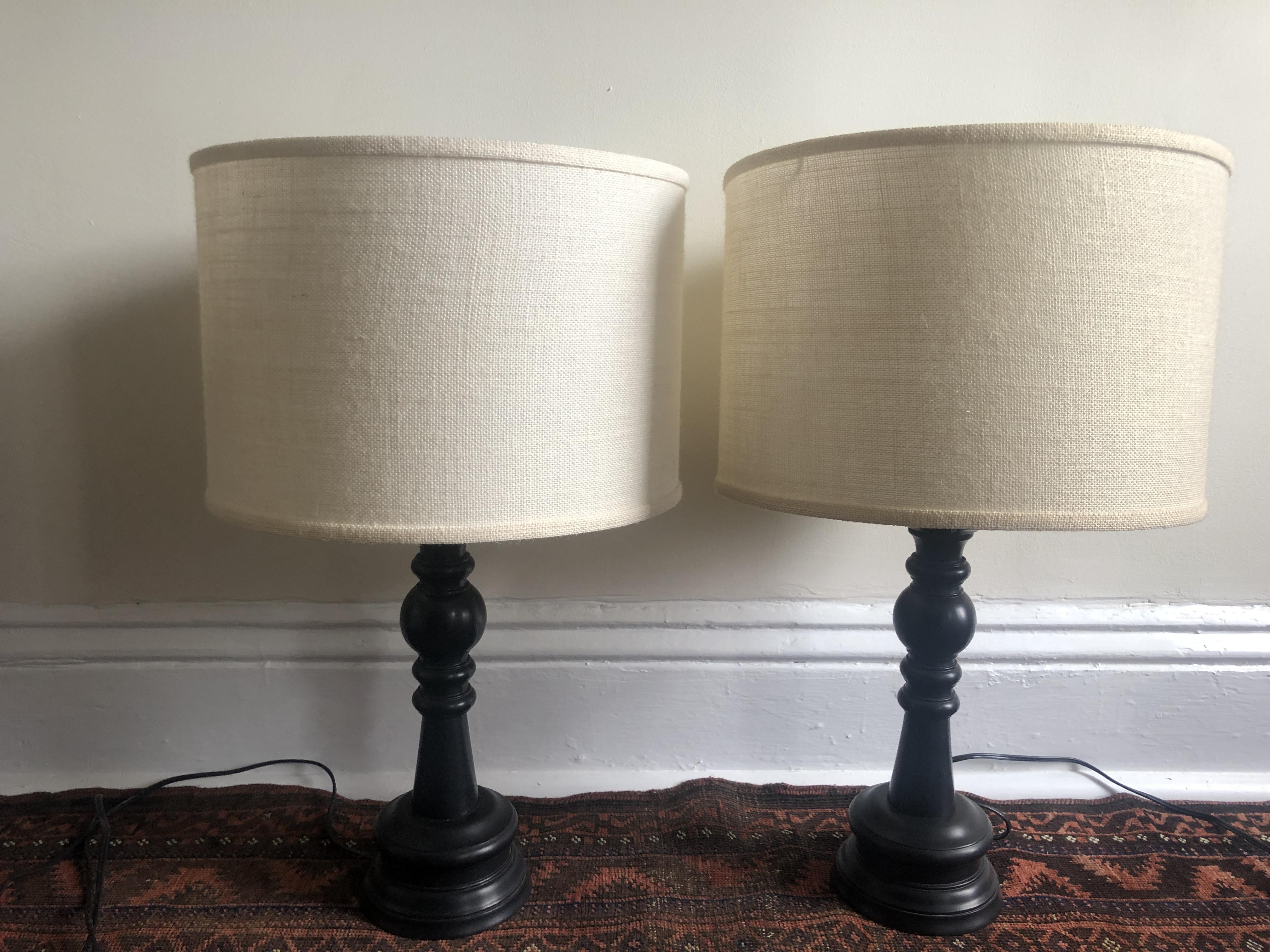 Ebony Turned Wood Lamps w/ Linen Shades