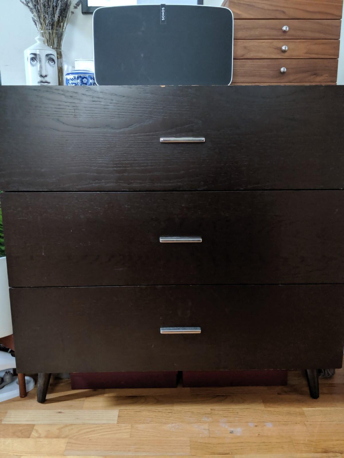 West Elm Brown 3-Drawer Dresser w/ Silver Metal Hardware