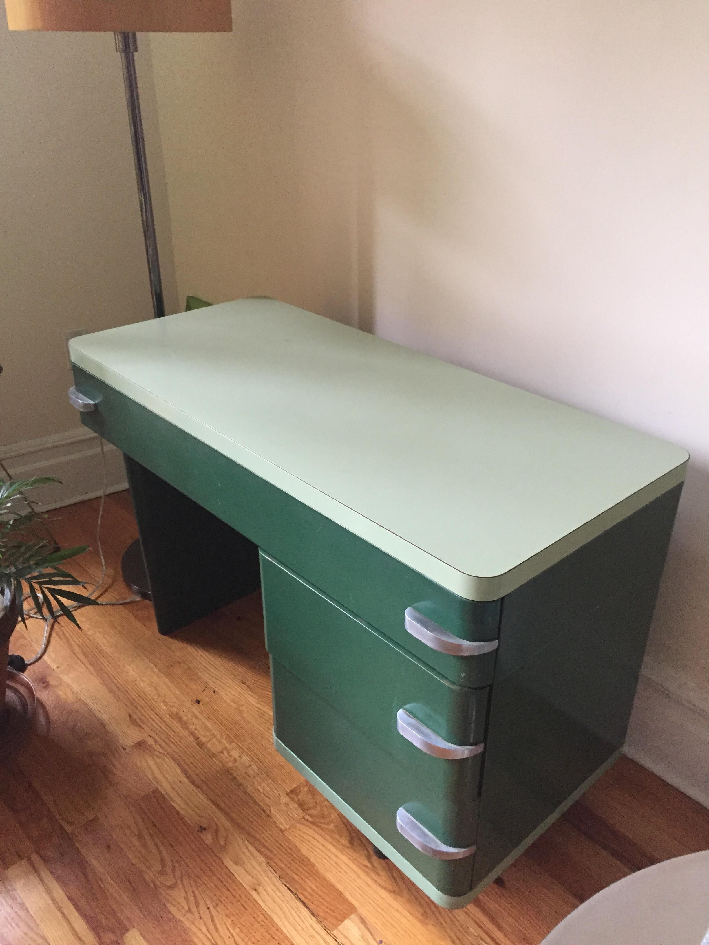 Royal Chrome Machine Age Metal Desk.