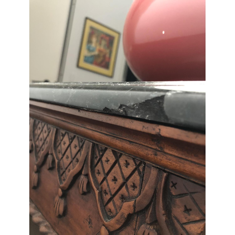 Antique Wood Frame Black Marble Top Desk/Table - image-6