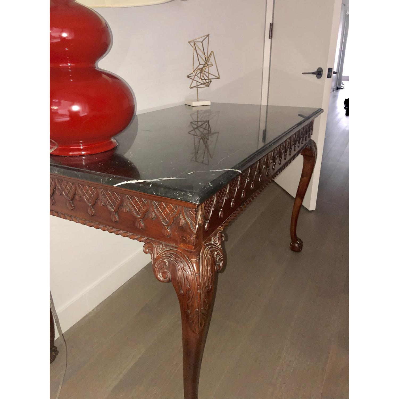 Antique Wood Frame Black Marble Top Desk/Table - image-11