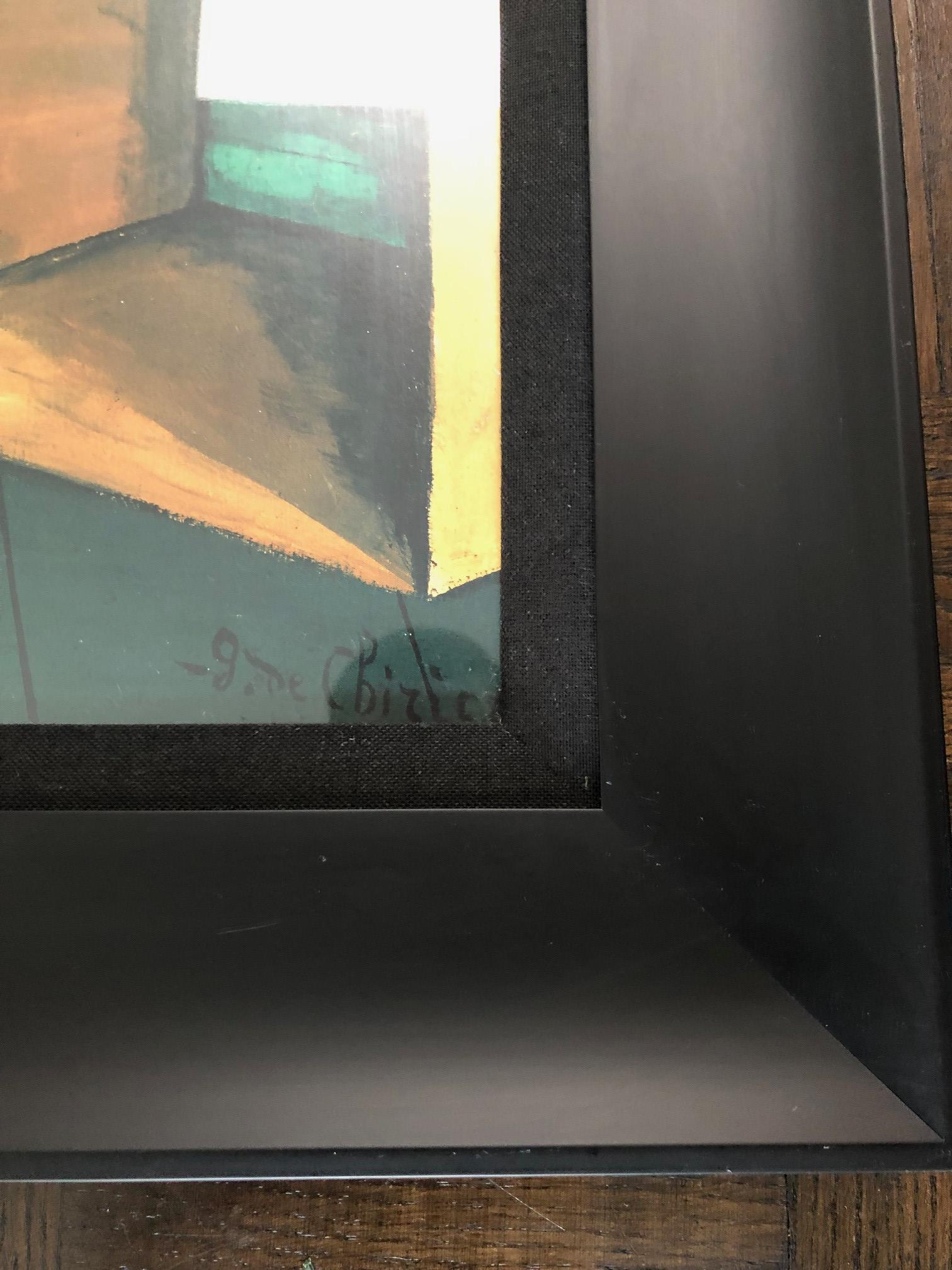 DeChirico Framed Print Reproduction w/ Black Wood Frame