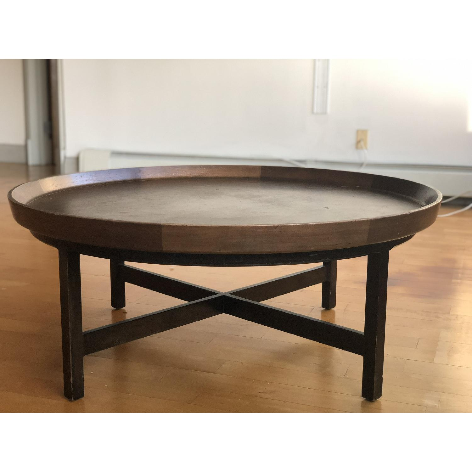 Antique Solid Wood Round Coffee Table - image-1