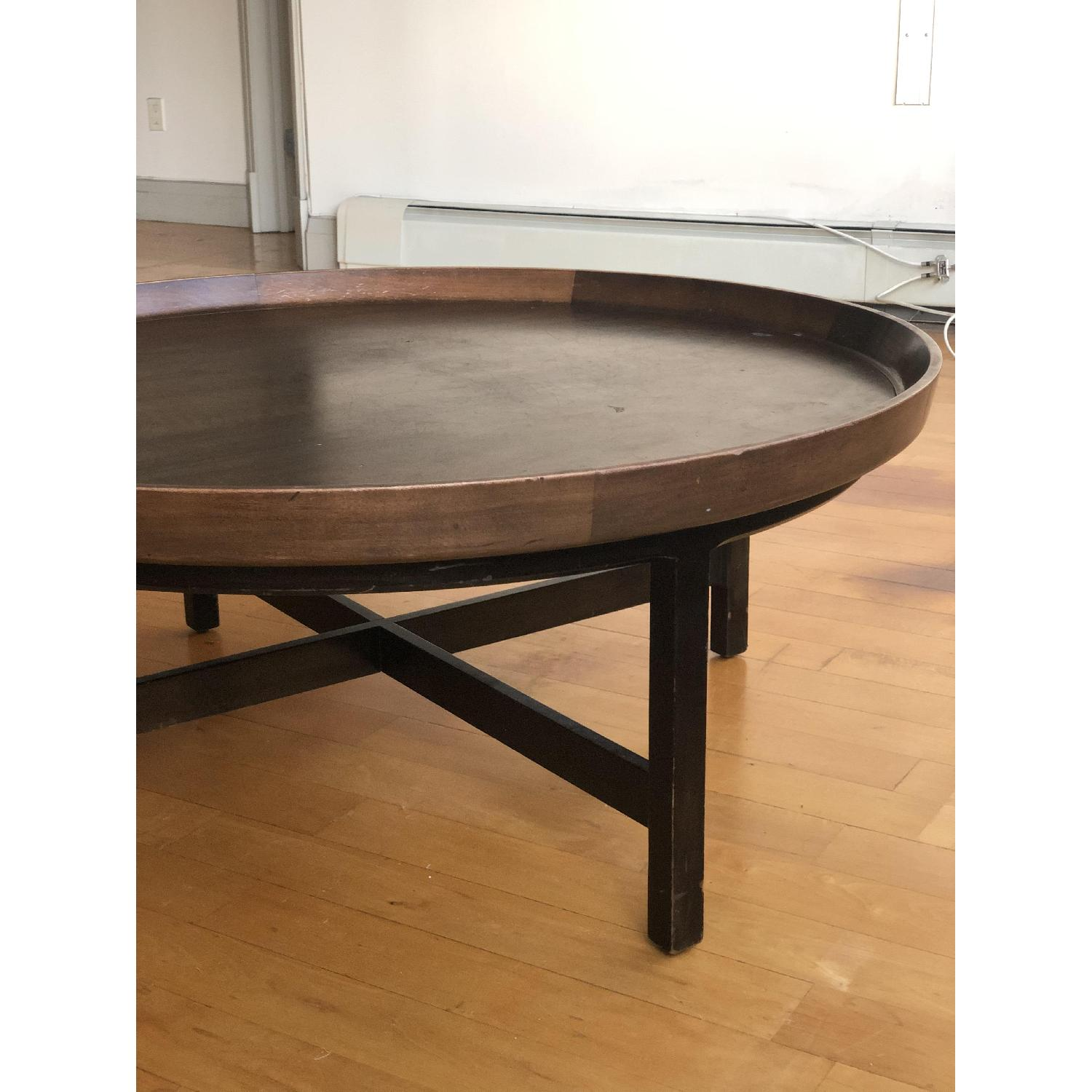 Antique Solid Wood Round Coffee Table - image-11