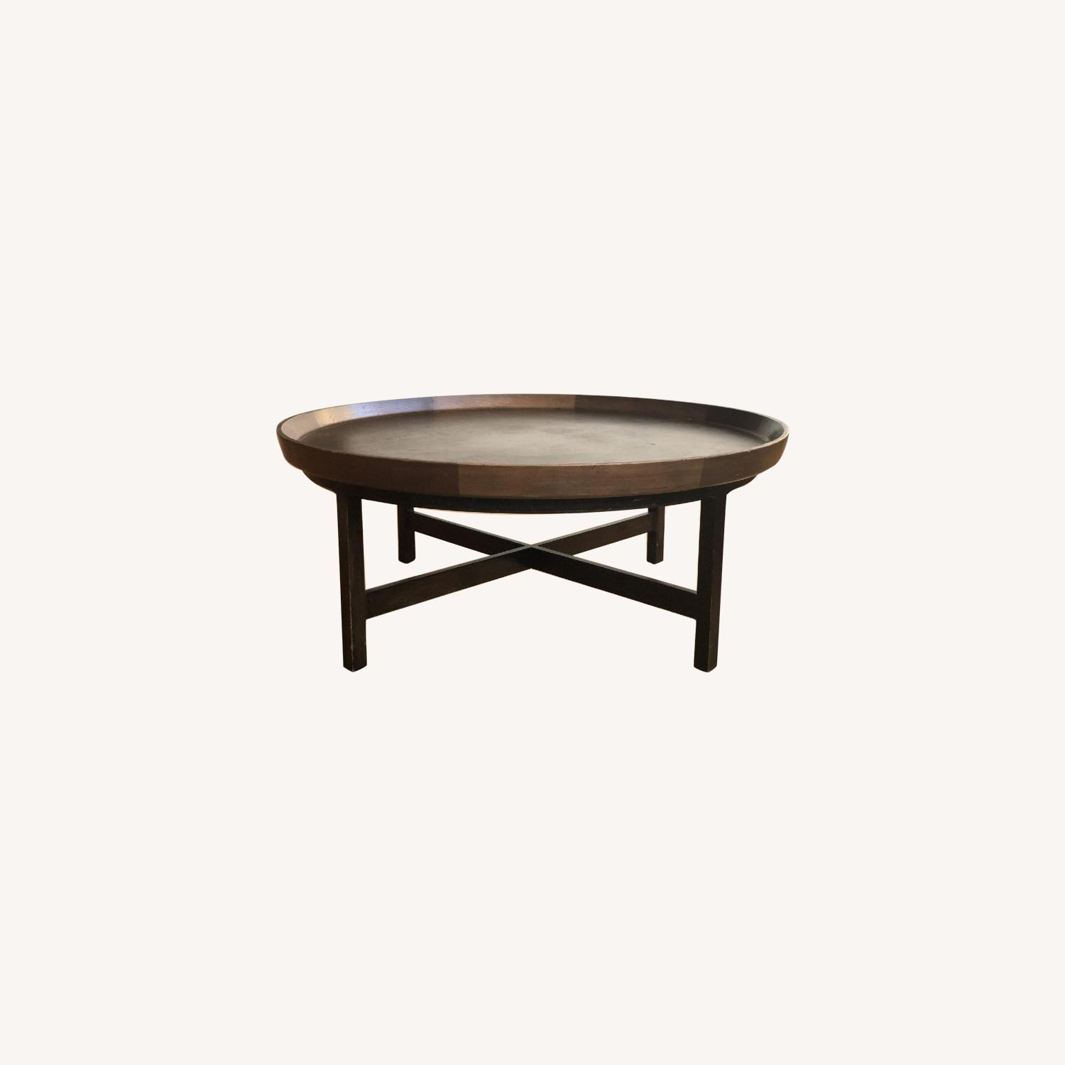 Antique Solid Wood Round Coffee Table - image-0