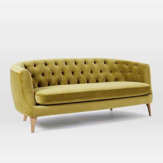 West Elm Spring Green Velvet Sofa