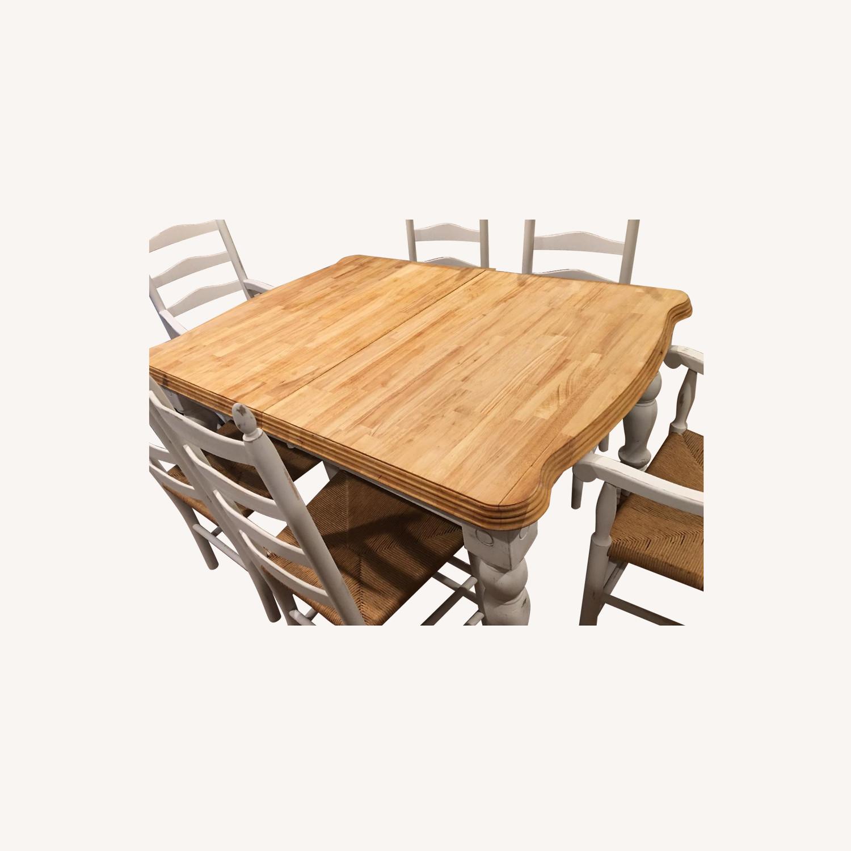 Vintage Butcher Block Farmhouse Table w/ 6 Chairs