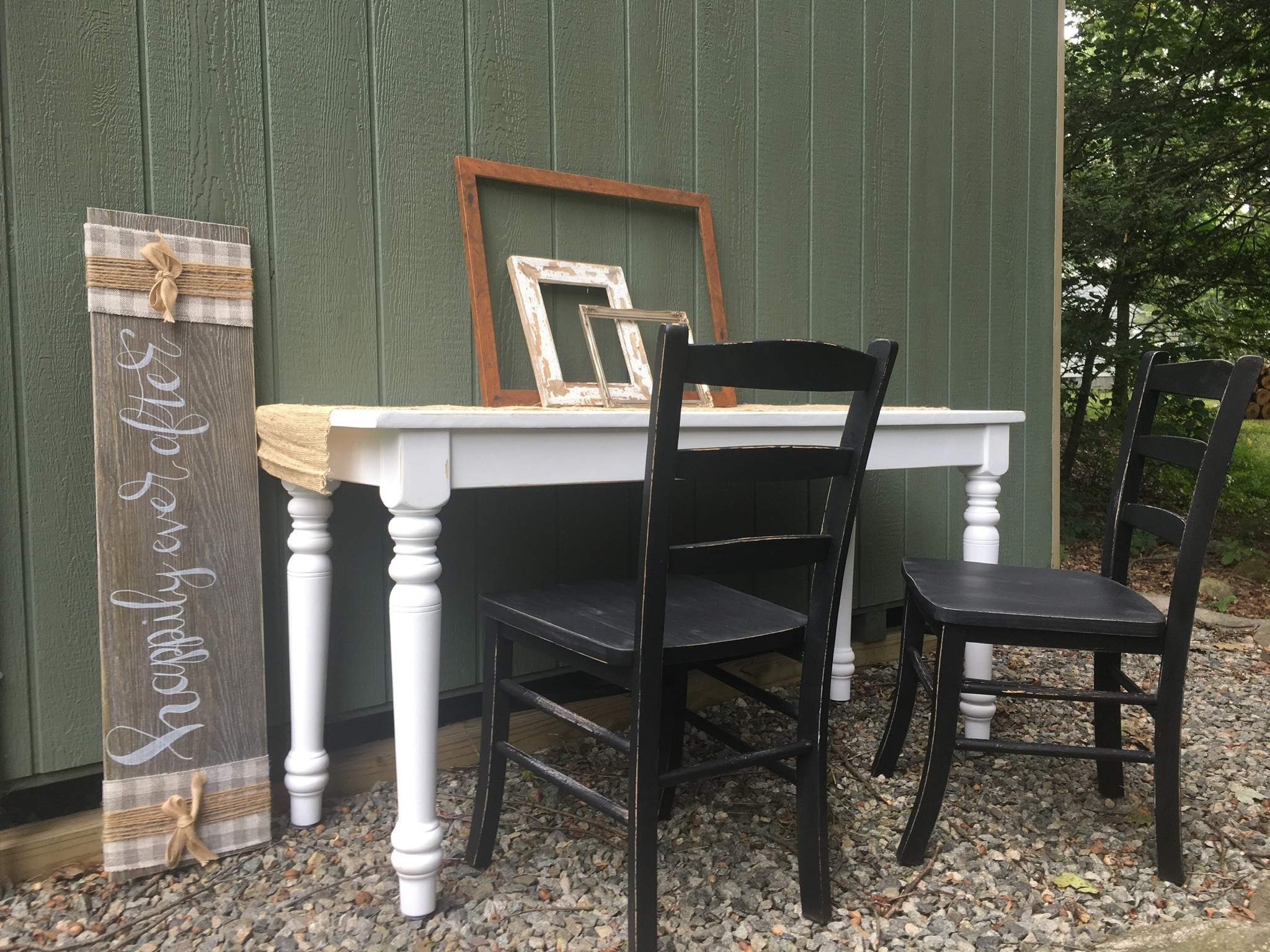 Refinished White Table w/ 2 Black Chairs