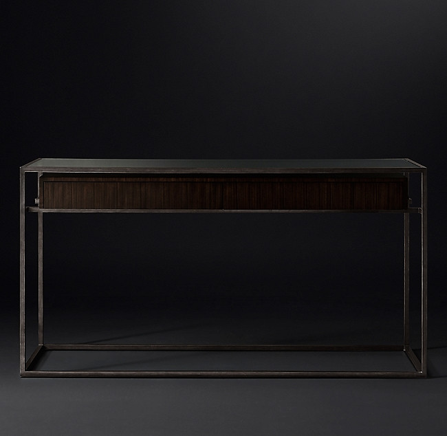 Restoration Hardware Metal/Wood & Glass Top Console Table