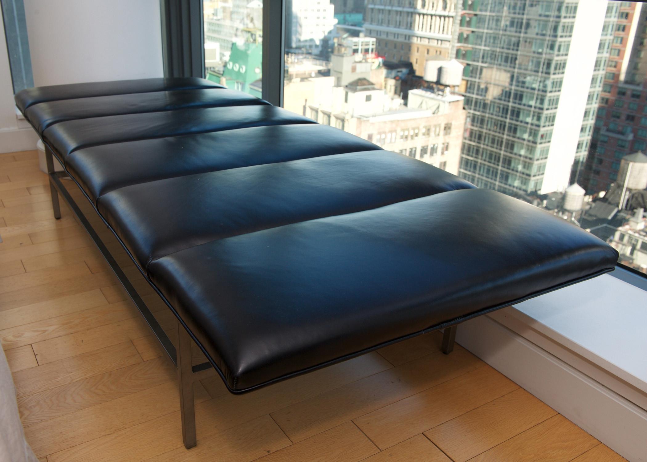 Mid Century Modern Black Leather & Brass Bench