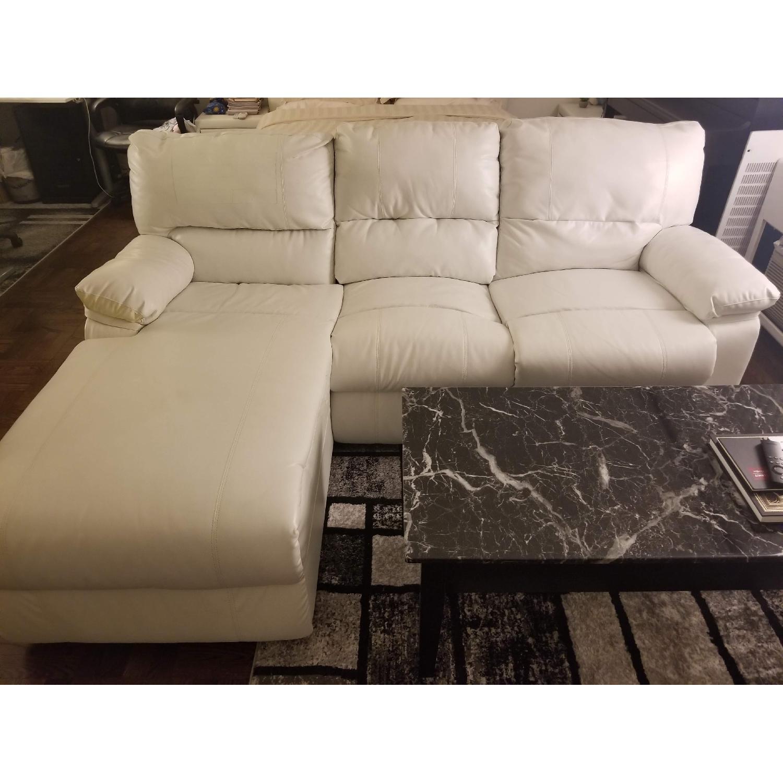 Poundex Bobkona White Leather Recliner Sectional Sofa - image-1