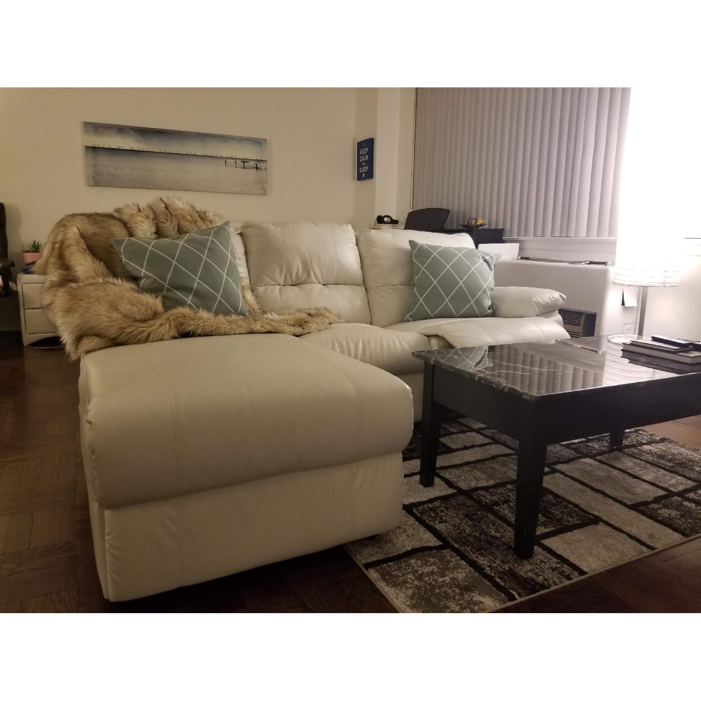 Poundex Bobkona White Leather Recliner Sectional Sofa - image-0