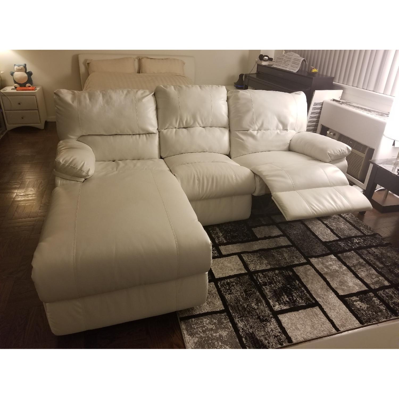 Poundex Bobkona White Leather Recliner Sectional Sofa - image-7