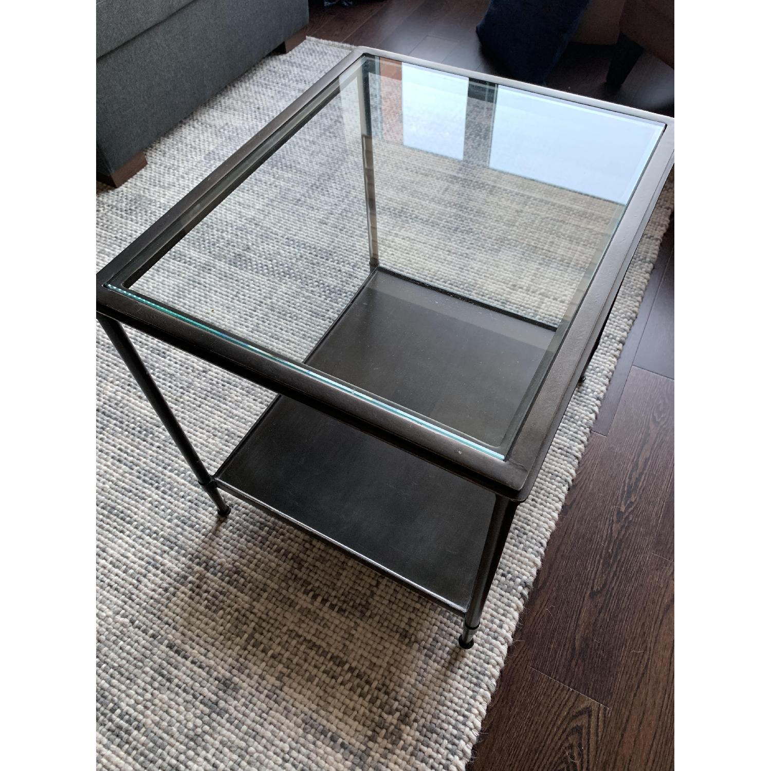 Crate & Barrel Kyra Steel & Glass End Table - image-1