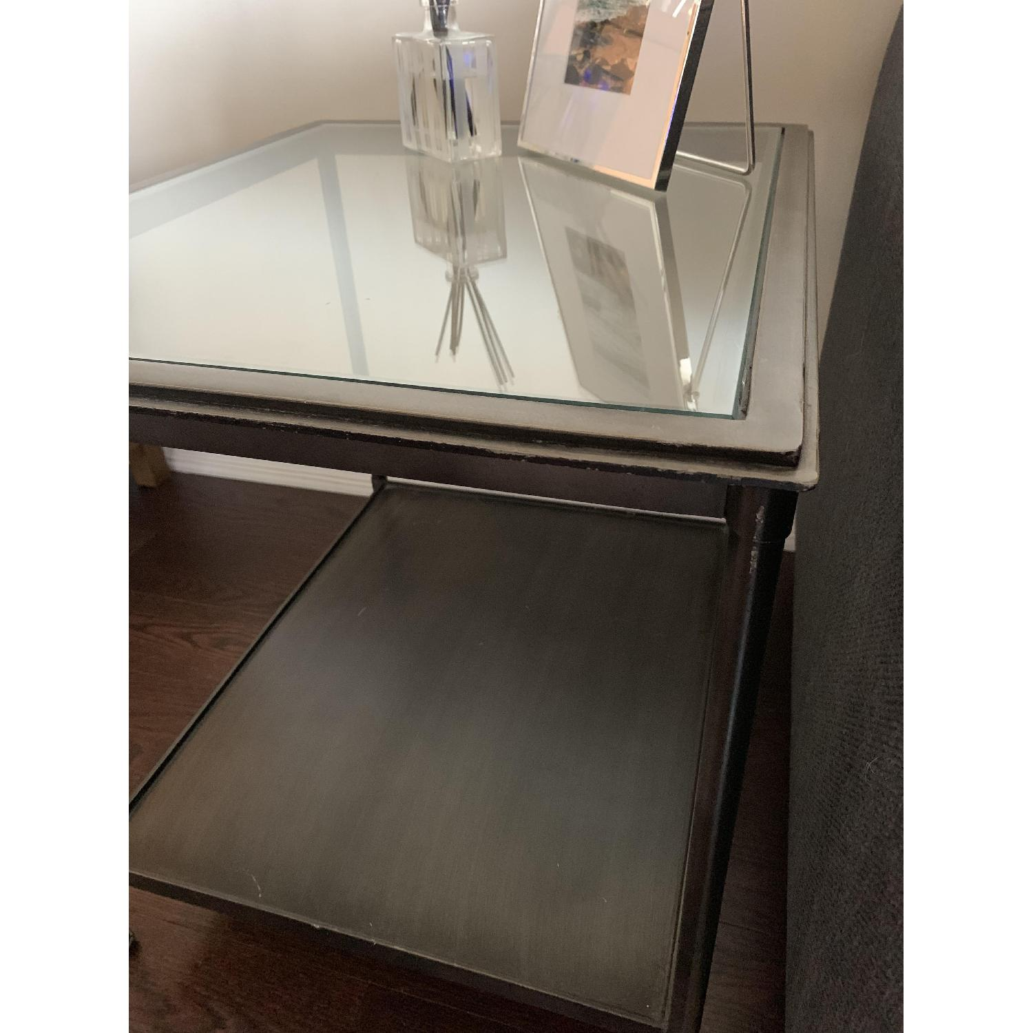Crate & Barrel Kyra Steel & Glass End Table - image-2
