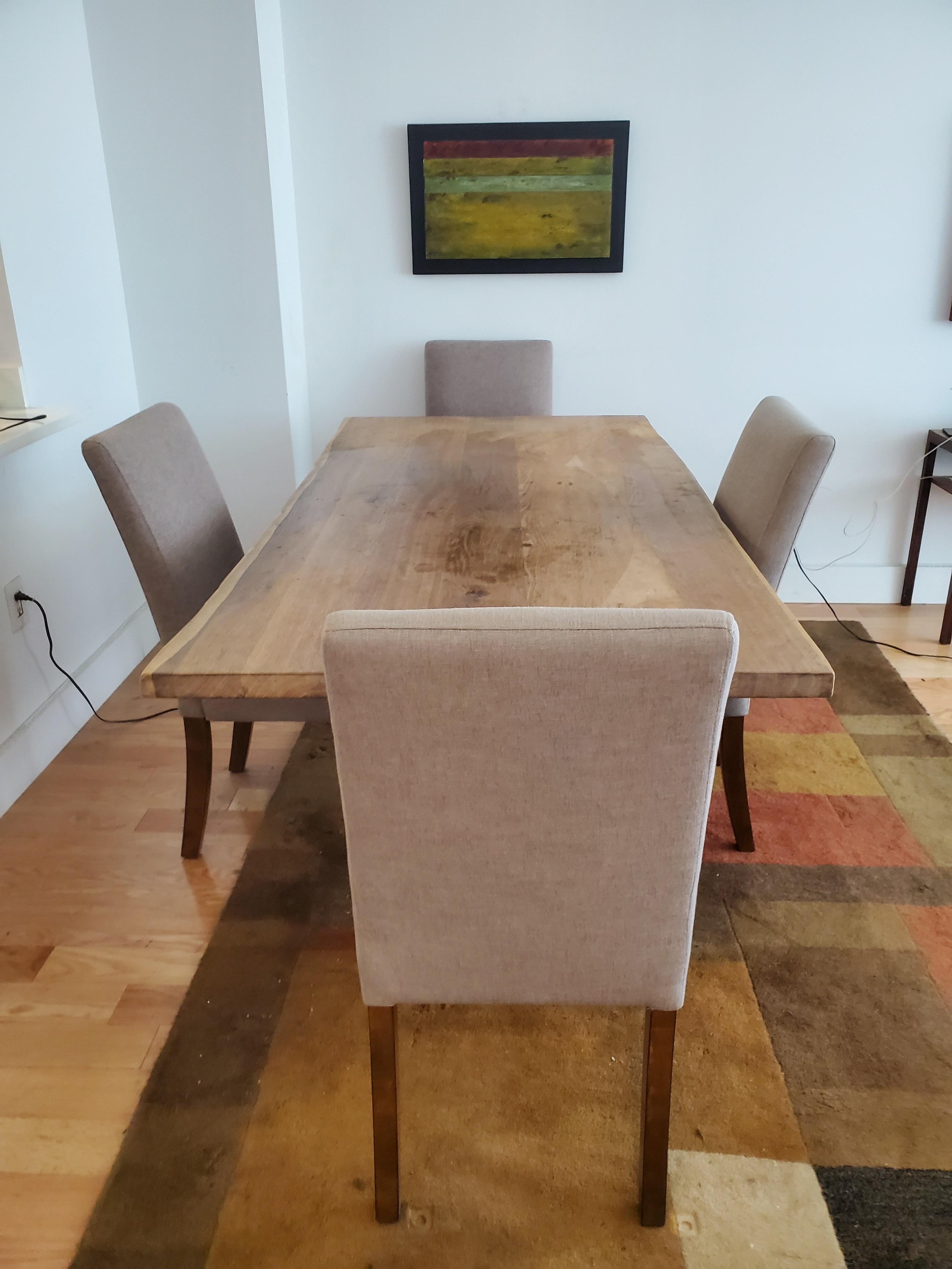 Crate and Barrel wood table and chairs