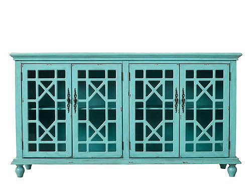 Raymour & Flanigan Darcy Credenza in Bayberry Blue