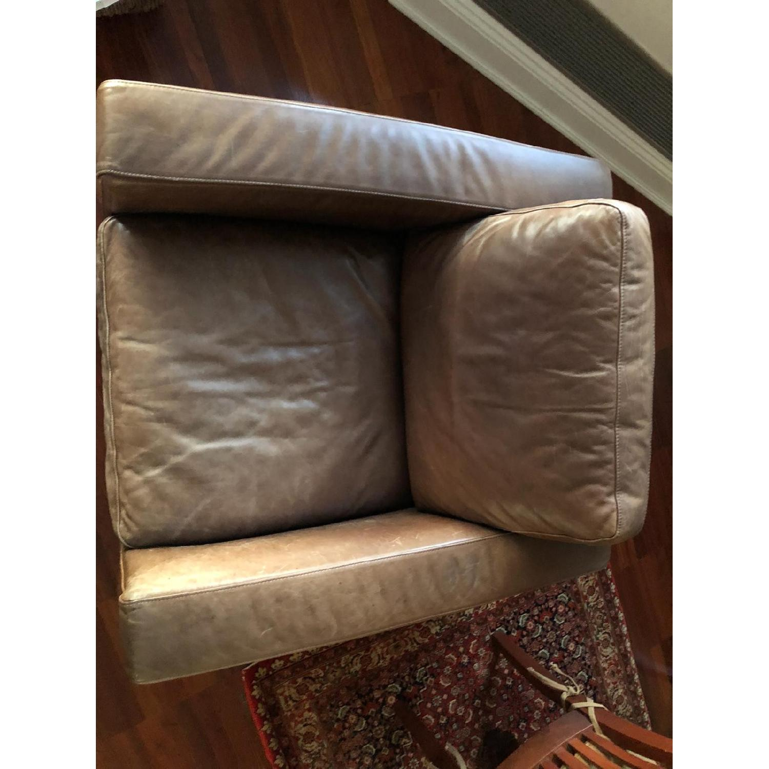 Bloomingdale's Brown Leather Chair - image-1